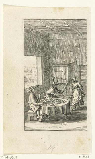 Willemynken beklaagt zich over het eten bij een bediende