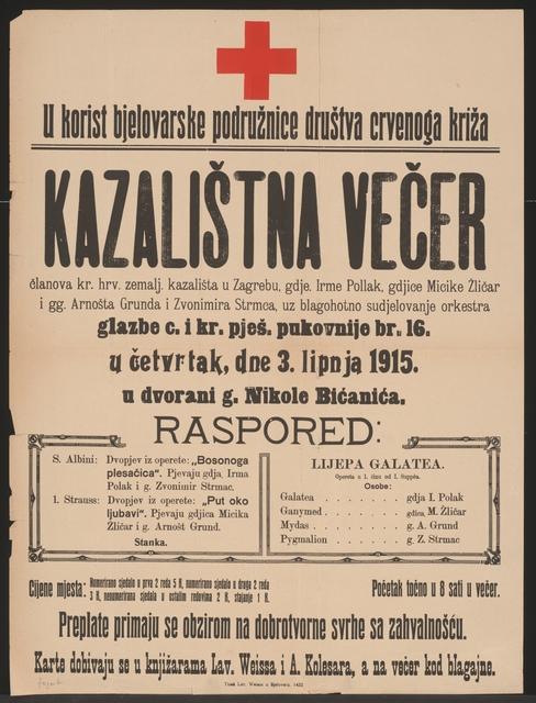 Wohltätigkeitskonzert - Rotes Kreuz - Plakat - Bjelovar - In kroatischer Sprache