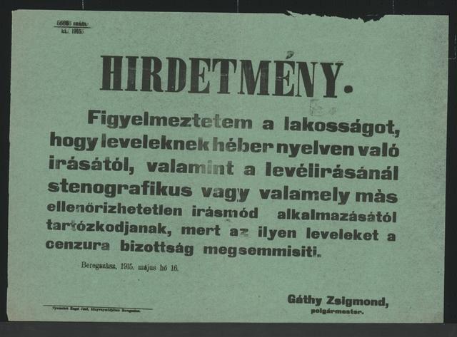 Zensur - Lampertshaus - In ungarischer Sprache