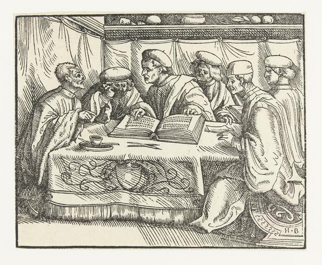 Zes geleerden zitten rond een tafel