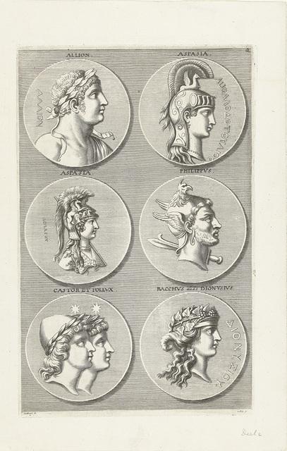 Zes munten met portretten van mannen en vrouwen uit de antieke en de mythologie: letter Q