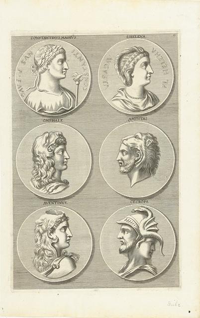 Zes munten met portretten van mannen en vrouwen uit de antieke: letter O