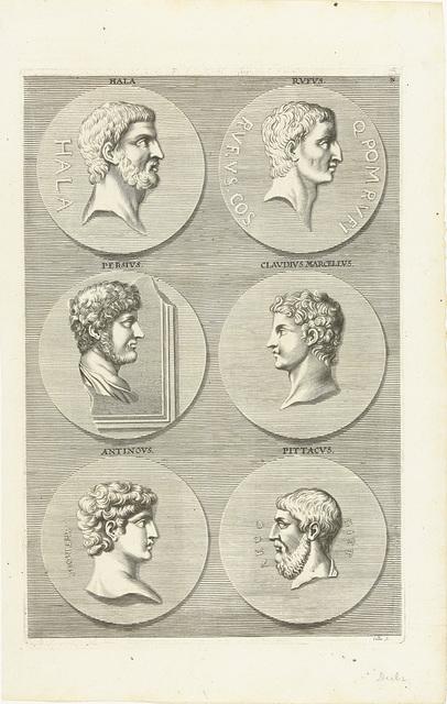 Zes munten met portretten van mannen uit de antieke: letter N