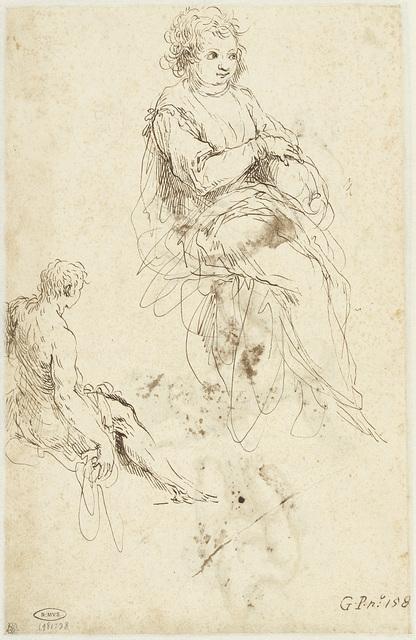 Zittend kind en een jeugdige Johannes de Doper