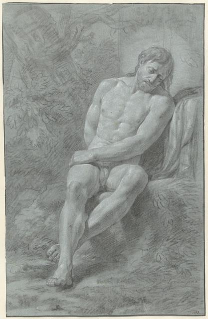 Zittend mannelijk naakt, geleund tegen een steen, van voren gezien