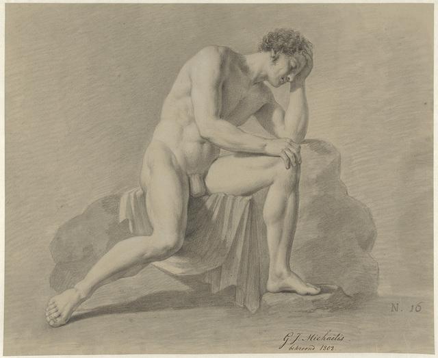 Zittend mannelijk naakt, het hoofd steunend op de linkerarm