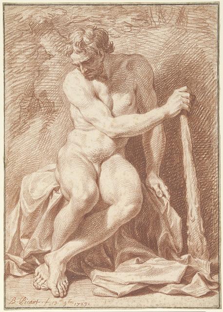 Zittend mannelijk naakt, met knots