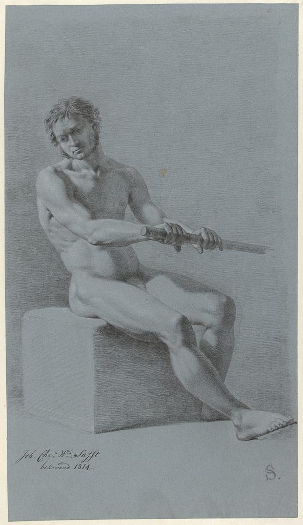 Zittend mannelijk naakt met roeispaan