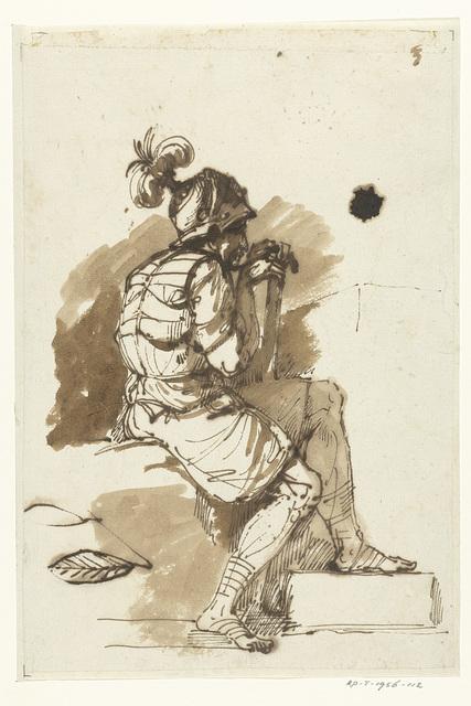 Zittende krijgsman met bepluimde helm, en profil