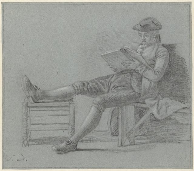 Zittende lezende heer