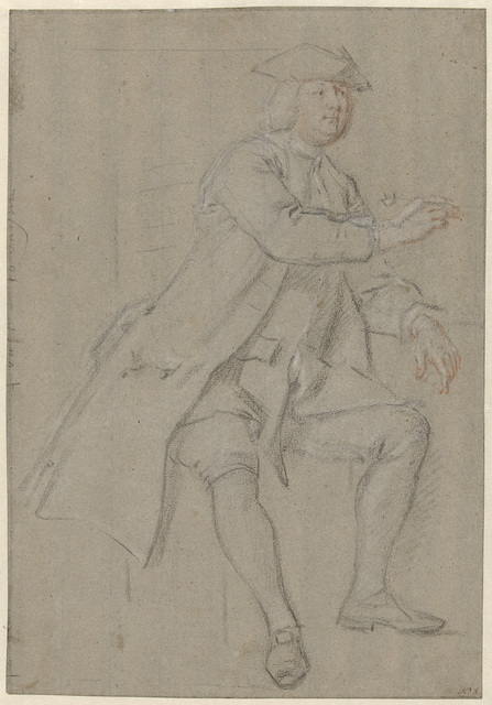 Zittende man in lange jas met pijp in de hand, naar rechts