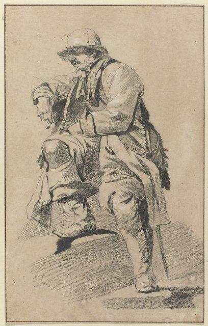 Zittende man, naar links gewend, met hoed, snor, sabel en pijp