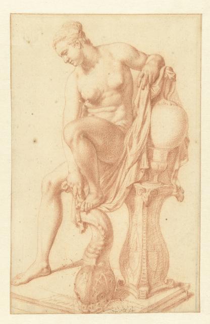 Zittende naakte vrouw bij haar toilet