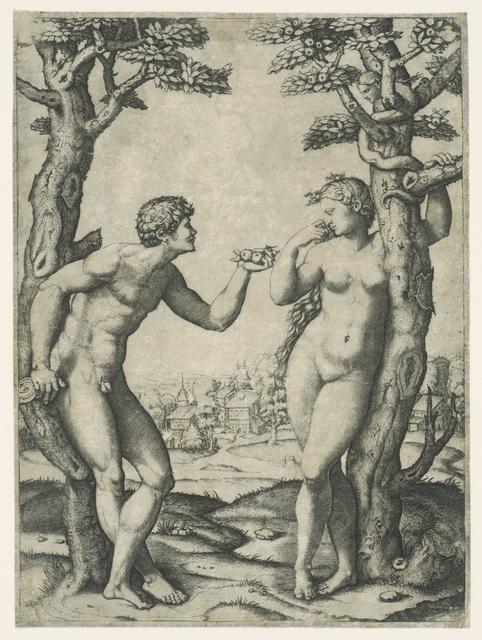 Zondeval van Adam en Eva bij boom van kennis van goed en kwaad met slang