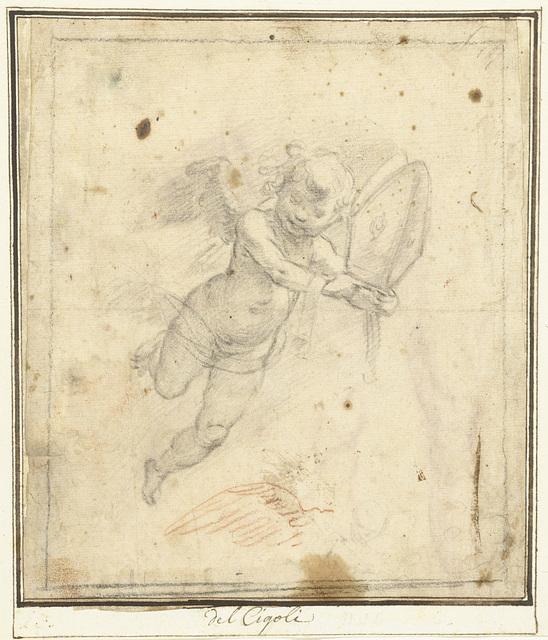 Zwevende engel en een vleugel