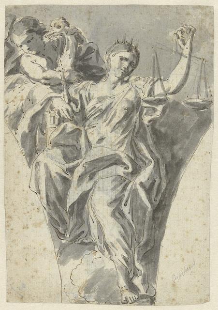 Zwikvulling met figuur van Justitia