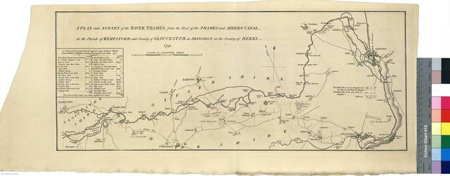 A Plan and Survey of the River Thames : from the End of the Thames and Severn canal, in the Parish of Kempsford and County of Gloucester, to Abingdon in the County of Berks. 1791 [Mapa]