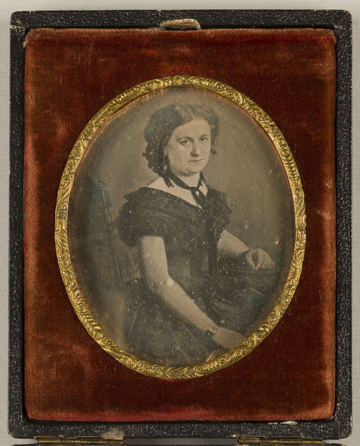 Case adjustable as a stand. Daguerreotype reproduction of a painted portrait which carries signature of Prague painter and photographer Wilhelm Horn. The daguerreotype possibly created in Horn´s studio.