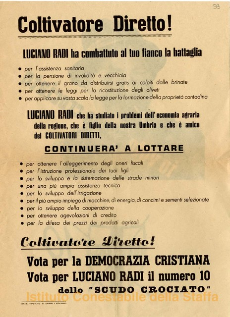 Coltivatore diretto! Vota per la Democrazia Cristiana : vota per Luciano Radi il numero 10 dello scudo crociato