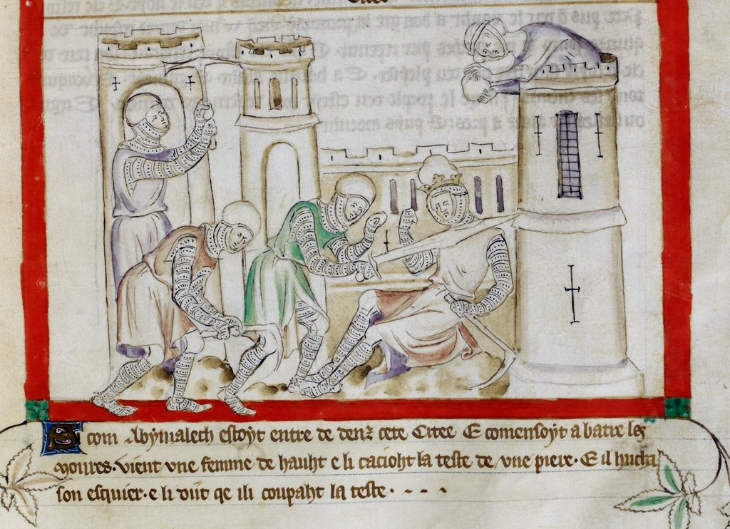 Death of Abimelech from BL Royal 2 B VII, f. 39