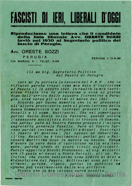 Fascisti di ieri, liberali di oggi. - Perugia : Grafica Perugia, 194?. - 1 volantino : color. ; 25x17 cm.