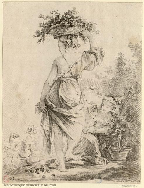 La Jardinière : jeune fille, vue de dos, épaules et jambes nues, une corbeille de fleurs sur la tête, en compagnie d'autres jeunes filles dans un parc