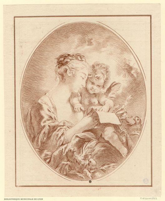 L'éducation de l'Amour. Vénus, en buste, de profil, à droite, apprend à lire à l'Amour, qui épelle ce vers : `Amour à l'amitié tu dois ton existence`