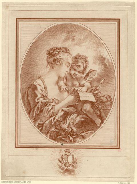 L'éducation de l'Amour. Vénus, en buste, de profil à droite, apprend à lire à l'Amour, qui épelle ce vers : `Amour à l'amitié tu dois ton existence`