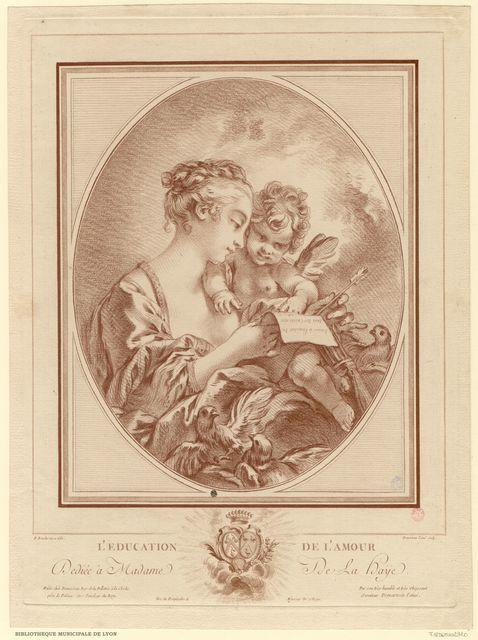 L'éducation de l'Amour. Vénus, en buste, de profil à droite, apprend à lire à l'Amour, qui épelle ce vers:`Amour à l'amitié tu dois ton existence`