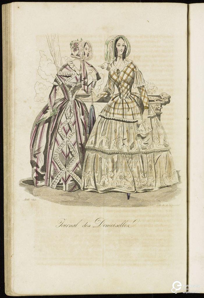 Modeprent (in kleur) uit 'Journal des demoiselles' 1843-07-01