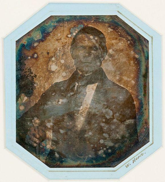 Ooriginal mat in modern framing, the image is havily damaged.
