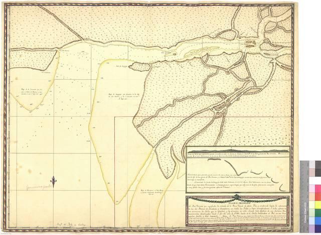 Plano primero del Rio Orinoco que manifiesta la entrada de la Boca Grande dicho Rio, y comprende hasta la separación de los dos Brazos de Ymataca, y Sacapana : con todas las Yslas, y bajos correspondientes a dicho espacio como asimismo los Caños que se apartan, y la dirección de estos, situado todo despues de seis prolijos reconocimientos practicados desde el fin del año de 1797 hasta el de 1802, hallándose el Río en sus tres quartas partes, y total vaciante. Primera parte [Mapa]