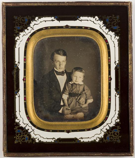 portrait a man with a child