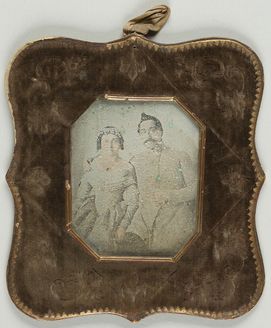 Portrait of a young couple, possibly a wedding portrait
