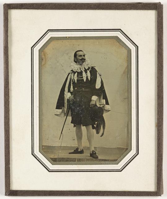 Portrait of man in suit of mediaeval nobleman