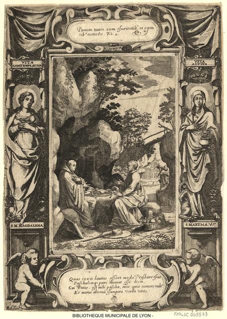 Saint Benoît, à l'entrée d'une grotte, déjeunant avec un curé qui lui a apporté de la viande