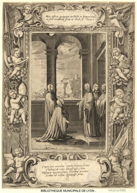 Saint Benoît reprochant à un jeune moine d'avoir gardé des mouchoirs pour lui