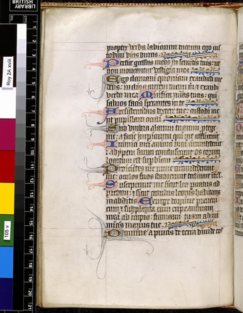 Text page from BL Royal 2 A XVIII, f. 105v