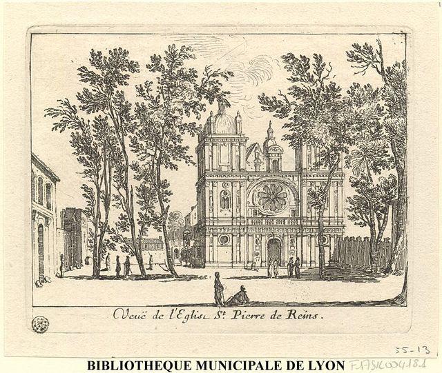 Veuë de l'église de St Pierre de Reins
