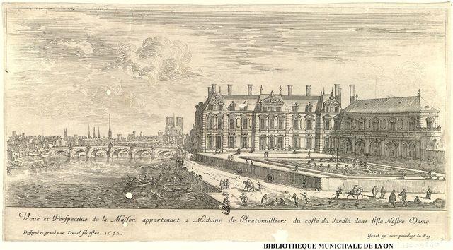 Veuë et perspectiue de la Maison appartenant a Madame de Bretonuilliers du costé du jardin dans l'jsle Nostre Dame